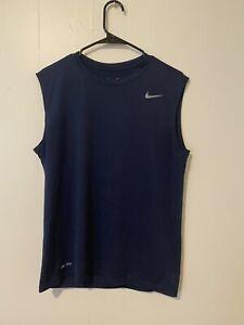 Nike Dri-Fit Tank Top Sleeveless Shirt Navy Blue Size Medium Very Lightly Worn