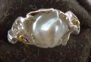 Pearl ring, south sea keshi