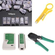 Cable Tester+Crimp Crimper+100 RJ45 CAT5 5e Connectors Plug Network Tool Kit