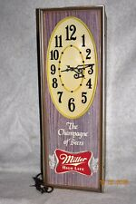 "Vtg Miller High Life Electric Lighted 27"" Clock Beer Sign The Champagne of Beers"