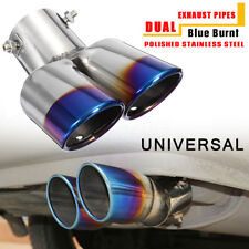 Universal 2.5'' Blue Burnt Car Exhaust Dual Muffler Pipes Tip Stainless Steel