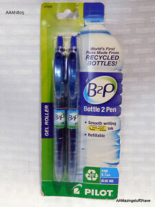 Pilot B2p Gel Pen Fine Point Type 0.7mm Point Size Blue Ink 2 Pack NEW  Recycled