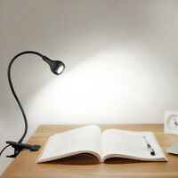 LED Flexible USB Reading Light Clip-On Beside Bed Table Desk Lamp