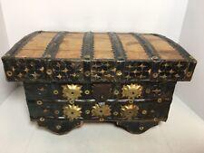 "Wood Chest Trinket Jewelry Storage Box Brass Accent Wheels 13"""