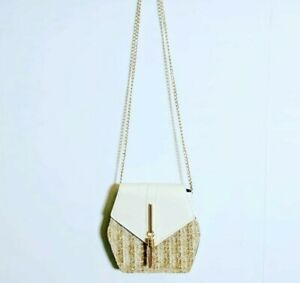 Wicker Basket Shoulder Bag With White And Gold Detail