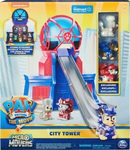 PAW Patrol, Micro Movers Movie City Tower with 3 Toy Figures - EXCLUSIVE!