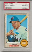 1968 TOPPS #101 GLENN BECKERT, PSA 8 NM-MT , CHICAGO CUBS, LOW POP, TOUGH