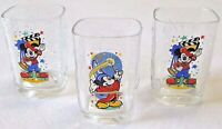 Lot of 3 Mickey Mouse McDonalds Drinking Glasses Epcot Millennium 2000 Disney