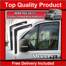 MAN TGE 2017> GENUINE CLIMAIR FRONT SMOKED WIND DEFLECTORS TOP QUALITY TINT PAIR