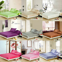 Solid Satin Silk Like Fitted Sheet Duvet Cover Pillowcase Set Full Size Bedding
