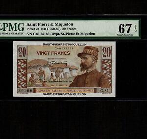 Saint Pierre & Miquelon 20 Francs 1950-60 P-24 * PMG Superb Gem Unc 67 EPQ *