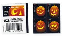 *Mint USPS Forever Stamps.Jack-O-Lanterns. Halloween. 2016. Block of 4