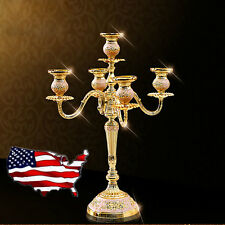 Gold European Candle Holders Metal Pillar Candelabra Wedding Gift Centerpiece US