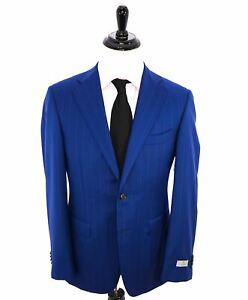 "$2,195 CANALI -""TRAVEL"" ROYAL BLUE CHALK STRIPE Oxford Weave Suit - 42R"