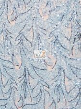 AMAZONIAN FOREST SEQUINS DRESS FABRIC - Baby Blue - BY YARD FASHION ACCESSORIES