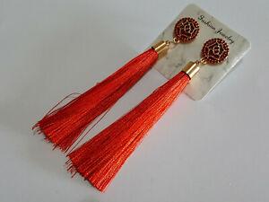Vintage Boho Long Red Tassel Drop Earrings Cotton Silk Fabric Fashion Jewellery