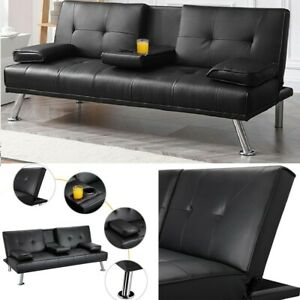 Futon Sofa Bed Sleeper Convertible Couch Modern PU Leather Loveseat Cupholders
