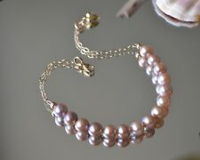 "14K Gold Chain and Stunning Pink~Purple Iridescent 6mm Pearl Bracelet 6"" to 7.5"""