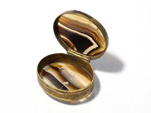 Antique 19thC Polished Agate Gilt Metal Pocket Trinket Pill Snuff Box #EH75