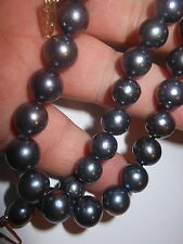 """14K Cultured Peacock Black Big 9.5mm Pearl NECKLACE 18"""" hand knotted Big Clasp"""