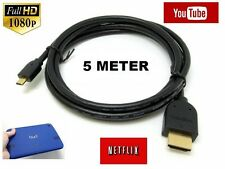 5 METER1080p Micro HDMI Cable TV Lead For Nokia Lumia 2520 Tablet PC to TV