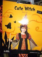 NEW w tags Girls Witch Halloween Costume sz M 8-10 orange black hat
