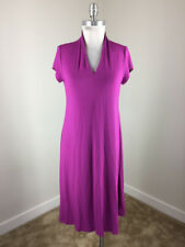 Eileen Fisher S Purple Shift dress Lagenlook midi Jersey knit Excellent