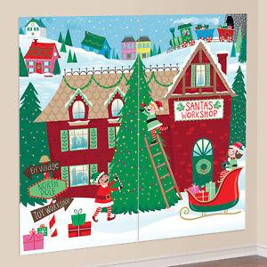 Christmas Santas Workshop Elves Scene Setter Wall Decoration Party Backdrop