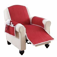 Faux Suede & Shearling Recliner Covers With Pockets.(RED)