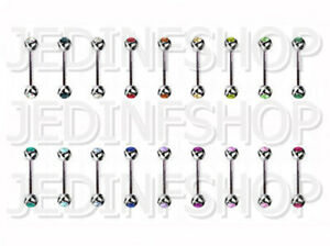Straight Barbell Bar | 0.8mm (20g) - 12mm | Double Gem - 18 Colours | Steel