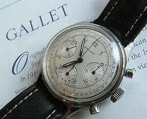 Clean Vintage 1960's S/S Gallet 3 Register Swiss Chronograph Watch