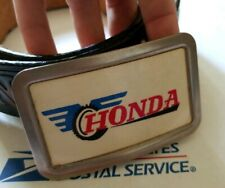 Honda Goldwing Motorcycle tooled leather belt and vtg fisher buckle