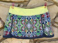 TITLE NINE Tennis Skort Skirt Shorts Size M Medium Lime Green Multicolor Floral