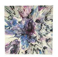 "Painting Acrylic on Canvas Original Contemporary Abstract Fluid Art 12"" x 12"""