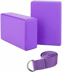 2pcs Yoga Blocks and Strap Set High Density Yoga Bricks Support Deepen for Yoga