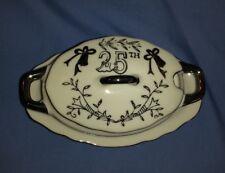 Vtg 1973 Lefton Silver Wedding 25th Anniversary Sugar Bowl Lid Underplate #5722