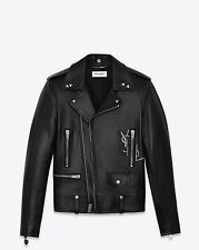 SAINT LAURENT 5350$ Authentic New Black Leather YSL Embroidery Biker Jacket sz52