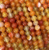 Natürliche Streifen Achat Perlen Poliert Topas Orange 8mm Edelsteine Natur G863