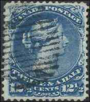 Canada #28 used VF 1868 Queen Victoria 12 1/2c blue Large Queen CV$160.00