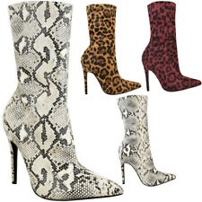 Ladies Leopard Print Ankle BOOTS Uk6d High HEELS Pointed Toe Festival Party