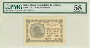 Saar 50 Centimes Currency Banknote 1919 PMG 55 CHOICE AU