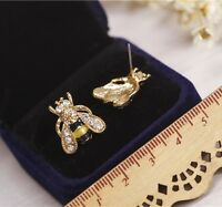 Funny Bumble Bee Enamel Rhinestone Crystal Earrings Animal Ear Stud Jewelry