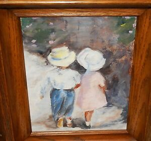 GIRL AND BOY WALKING AFTER IVAN ANDERSON OIL ON BOARD PAINTING UNSIGNED