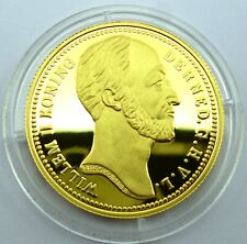 Netherlands 10 Gulden 1842 Silver Coin Proof with 24k Gold Plated Willem (T47)N2