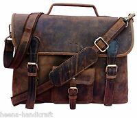 New Men Genuine Buffalo Leather Briefcase Laptop Messenger Bag Shoulder Handbag