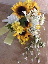 Wedding flowers bridal bouquets decorations sunflowers plum purple 7 bouquet