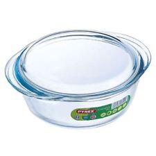 Pyrex Round Borosilicate Glass Casserole Dish & Lid Kitchen Cooking - 1L