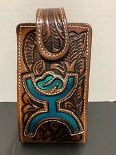 Cowboy/cowgirl Hand Tooled Leather Belt Phone Case - Western Teal