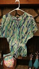 Women's Blouse Size S Blue Green Turquoise Thin Fabric Pretty Willi Smith Brand