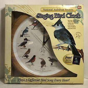 National Audubon Society Singing Bird Clock Oak Wood Grain New Open Box Tested